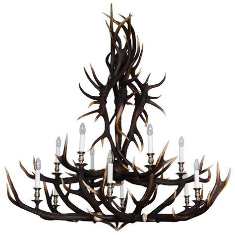 custom made chandelier custom made two tier antler chandelier for sale at 1stdibs