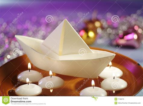 floating paper boat with candle floating candles and paper boat stock image image of