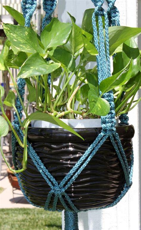 Handmade Macrame Plant Hangers - handmade macrame plant hanger holder with wood