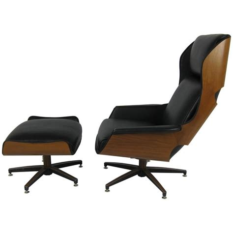 plycraft chair and ottoman rare ultra mod walnut plycraft quot mister quot lounge chair and
