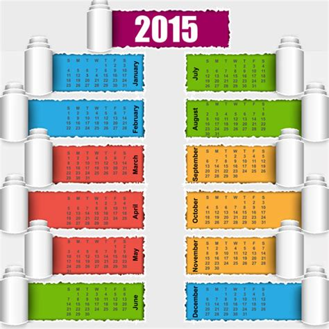 calendar design 2015 vector free download 2015 calendar colored torn paper vector free vector in