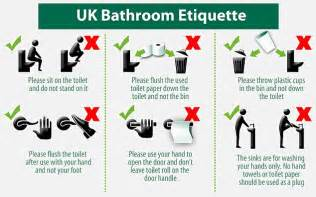 bathroom etiquette signs lloyds bank issues on how to use