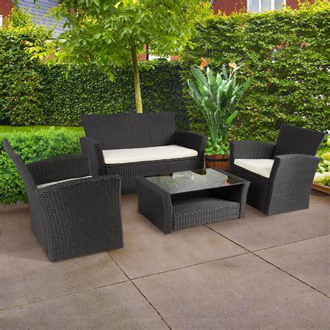 Design Ideas For Black Wicker Outdoor Furniture Concept 4pc Outdoor Patio Garden Furniture Wicker Rattan Sofa Set Black Design 55 Chsbahrain