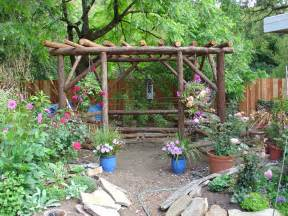 rustic garden gazebo from redwood posts photo karen mickleson photos at pbase com