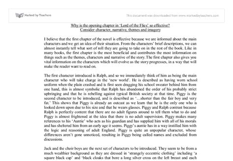 Lord Of The Flies Essay Introduction by Why Is The Opening Chapter In Lord Of The Flies So Effective Gcse Marked By