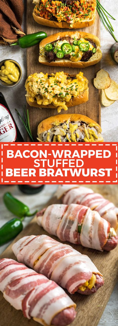 beer boats and bacon bacon wrapped stuffed brats