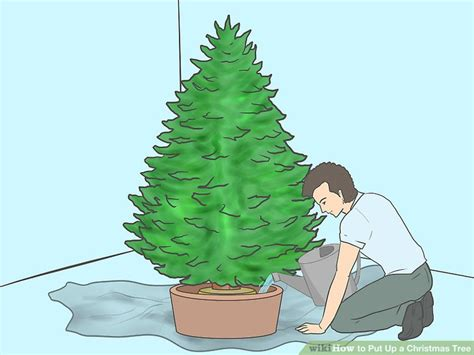 how to put up achristmas tree without a stand 3 ways to put up a tree wikihow
