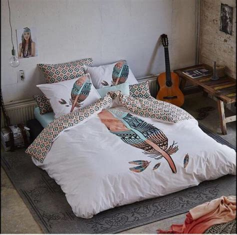 indie bedding home accessory bedding bedroom feathers dorm room boho hipster tumblr bedroom