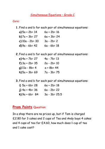 worksheet simultaneous equations by mcamaths teaching
