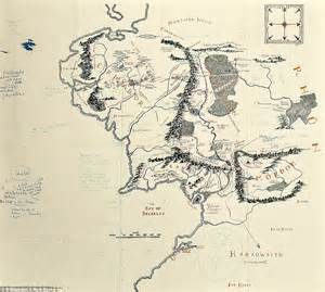 the lord of the rings middle earth map map of middle earth with j r r tolkien s handwritten