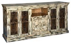 distressed white finish hardwood amp iron buffet sideboard cabinet rustic buffets and sideboards