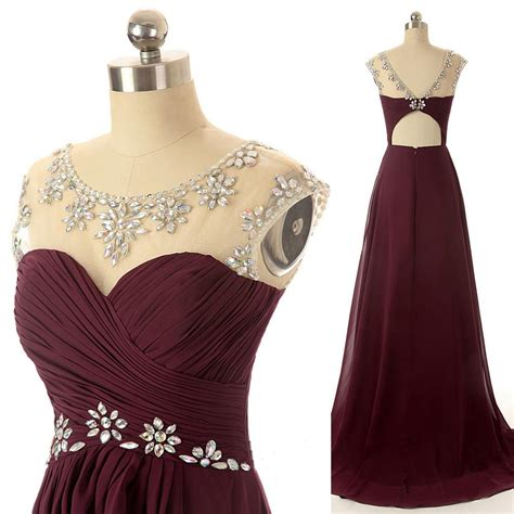Dress Maroon maroon prom dresses scoop chiffon ilussion neckline real picture 2016 evening gown open