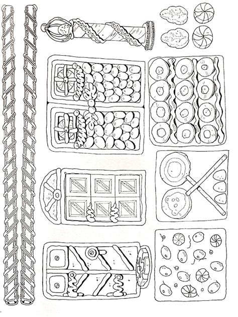 decorated house coloring pages gingerbread house pieces