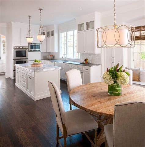 rectangular chandelier over table kitchen transitional