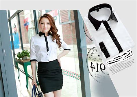 Baju Hitam Putih Kantor baju kemeja wanita untuk kerja kantor shopashop