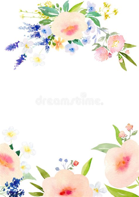 template that says cards flowers watercolor flowers card template stock illustration