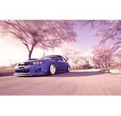 Subaru WRX STI Pink Trees Motion Blur Slammed Tuning