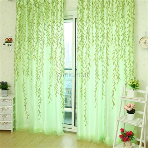 leaf pattern window curtains fashion sheer room leaf willow pattern voile panel drapes