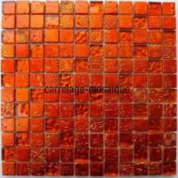carrelage mosaique verre et 1 plaque metallic