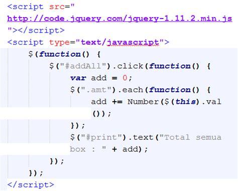 tutorial desain web dengan jquery membuat fungsi sum all dengan jquery