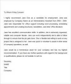 Recommendation Letter Knowledge Sle Recommendation Letters For Employment 12 Documents In Word