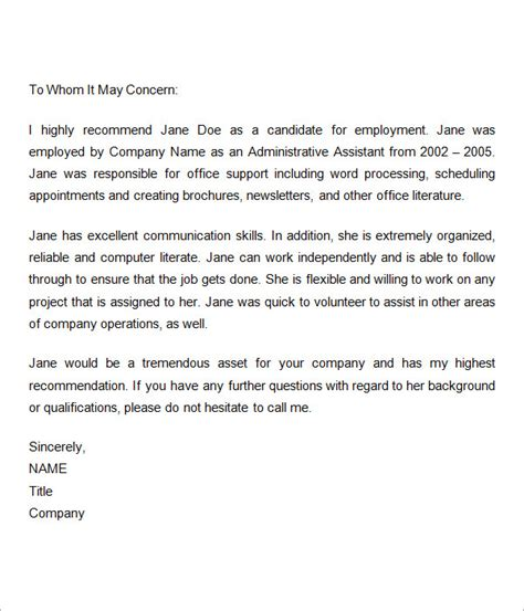 Employment Letter Of Recommendation Exle 7 Recommendation Letters For Employment Free Documents In Word
