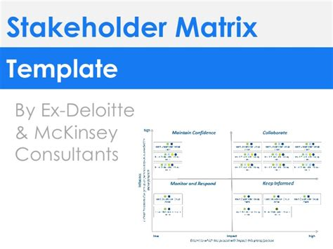 Deloitte Strategy Mba by Stakeholder Matrix Template By Ex Deloitte Mckinsey