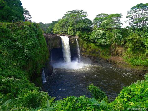 waterfall island rainbow falls waiānuenue in hilo big island hawai i