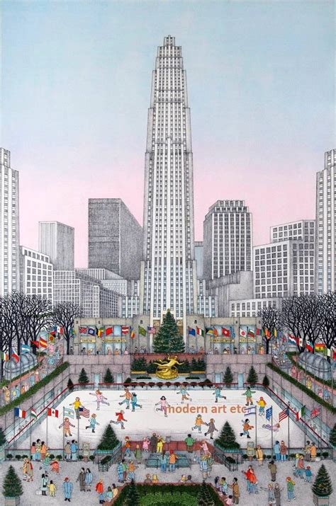 Home Interior Design Magazine by Cuca Romley Hand Colored Etching Rockefeller Center