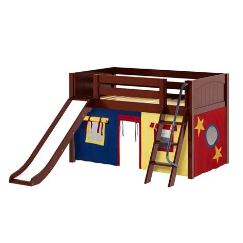 low loft bed with slide maxtrixkids den29 cp low loft bed with angled ladder