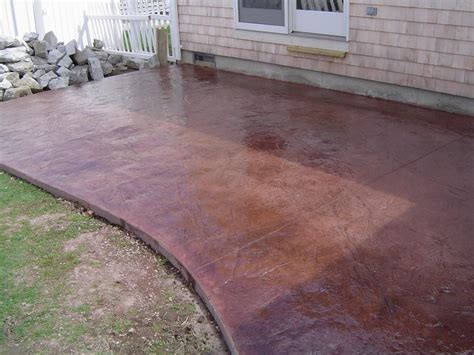 colored concrete patio brushed concrete search backyard deck firepit
