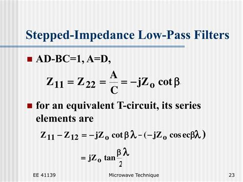 low pass filter load impedance ppt lecture 9 powerpoint presentation id 170722