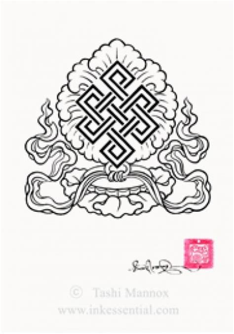 lotus knot tattoo eternal knot on lotus flower with ribbons tashi mannox