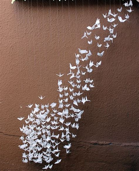 Origami Birds Wedding - flock of white origami cranes paper birds by