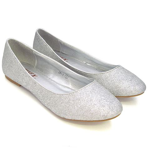 flat silver shoes new womens flat pumps glitter ballet ballerina