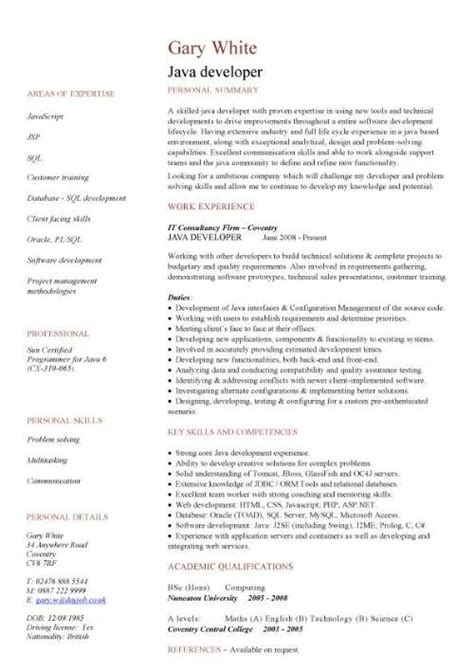 Resume Sles Of Java Developer It Cv Template Cv Library Technology Description