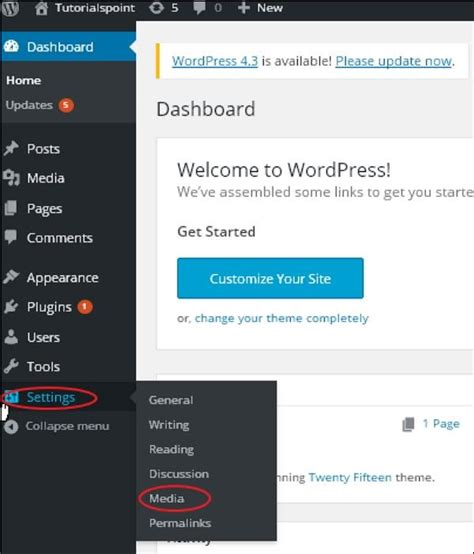 tutorialspoint wordpress wordpress media setting