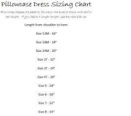 size chart for pillowcase dress pattern pillowcase