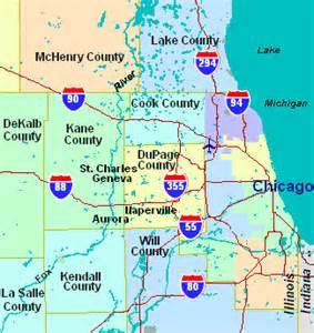 Chicago County Map by Chicago Map By County