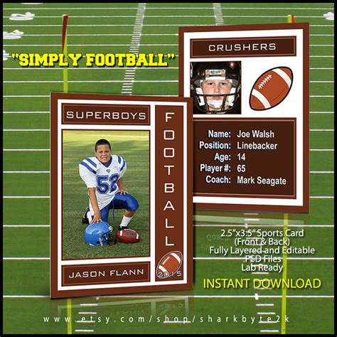 Football Card Template by 2017 Football Sports Trading Card Template For Photoshop