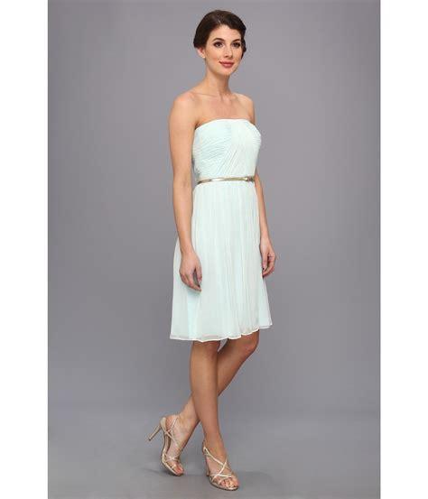 donna glass dress donna donna strapless belted chiffon dress in blue