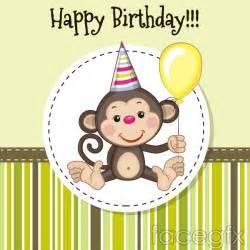 Monkey Birthday Cards Cartoon Monkey Birthday Card Vector Printables