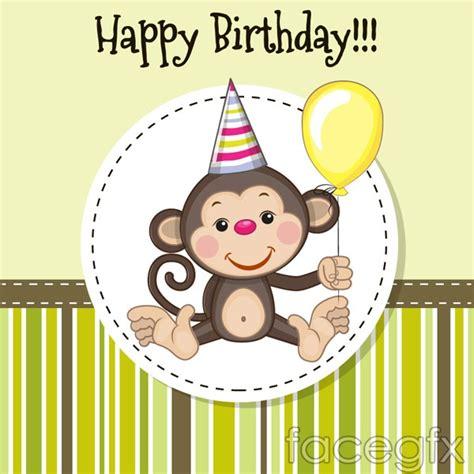 Monkey Birthday Cards Free Cartoon Monkey Birthday Card Vector Printables