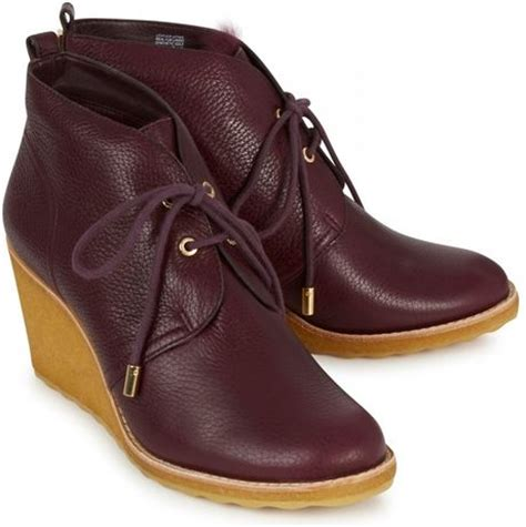 burch vicki leather wedge ankle boots in brown