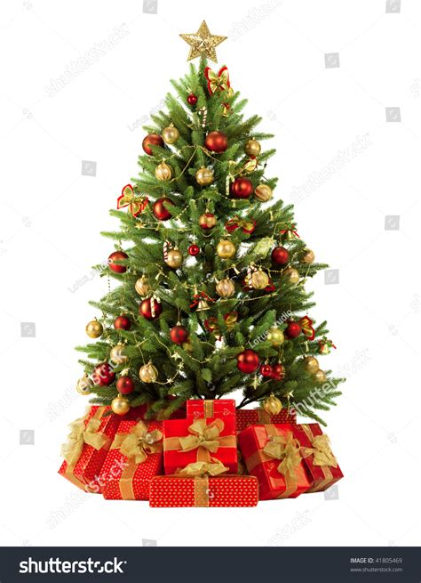 fir christmas tree ideas fir tree with colorful lights and decorations stock photo 41805469