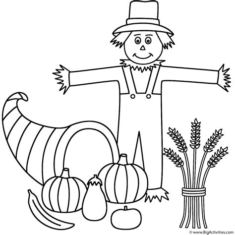 horn of plenty with scarecrow coloring page thanksgiving