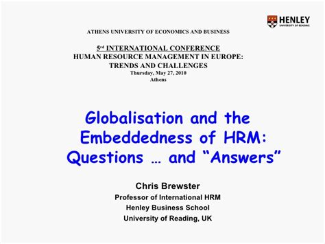 Athens Of Economics And Business Mba International by Chris Brewster