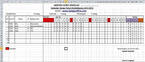 format absensi guru manual download format absensi guru excel