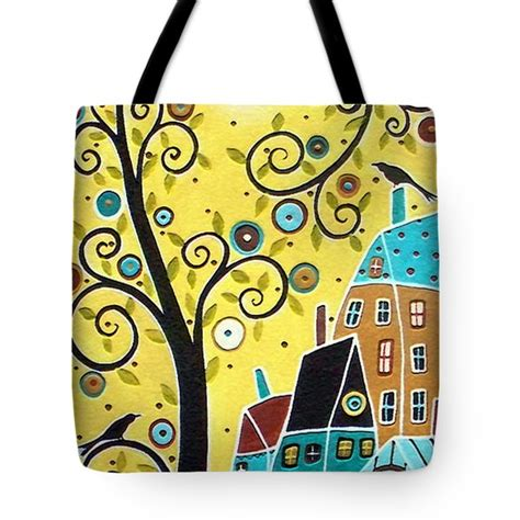 Two Birds Tote swirl tree two birds and houses painting by karla gerard