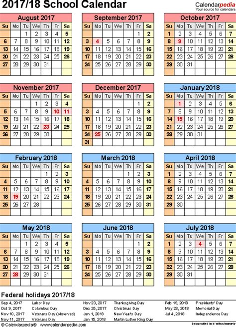 Calendar 2018 Not On The High School Calendars 2017 2018 As Free Printable Excel Templates